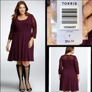 NEW $54 women TORRID lace henley shirt dress 4 4X
